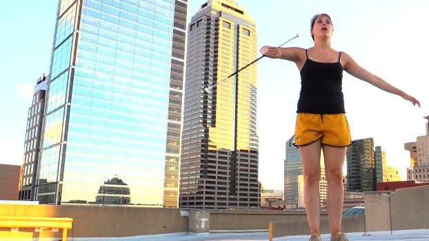 Indianapolis Star intern Allison Prang showed off her baton twirling skills in Downtown Indianapolis.