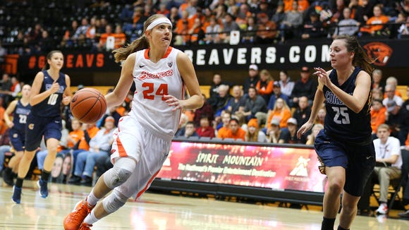 Oregon State guard Sydney Wiese returned to the lineup last week after missing the previous eight games with a broken hand.