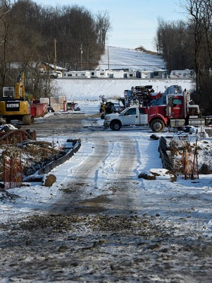 """Construction of the Sunoco pipeline has been halted by Pennsylvania environmental officials because of """"egregious and willful violations"""" of state law. Pipeline access near Zinns Mill Rd."""