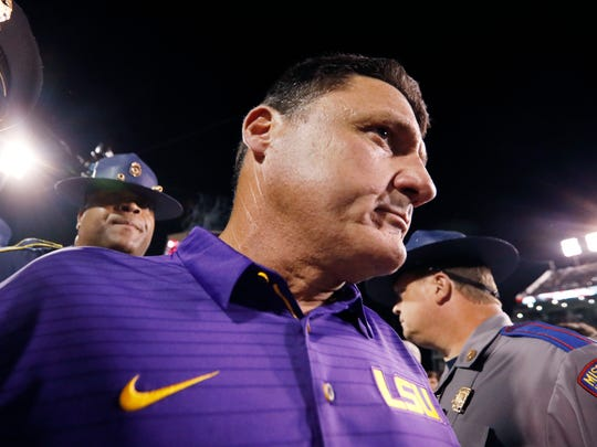 A disappointed LSU head coach Ed Orgeron leave the field following their 37-7 loss to Mississippi State in their NCAA college football game, in Starkville, Miss., Saturday, Sept. 16, 2017.