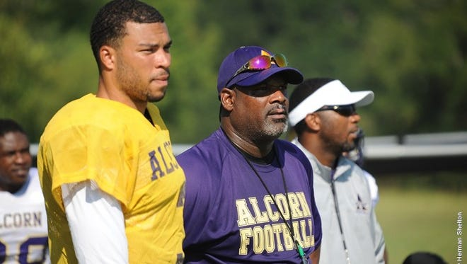 Fred McNair, pictured in purple, will lead Alcorn State into the fall as the three-time defending SWAC East champs.