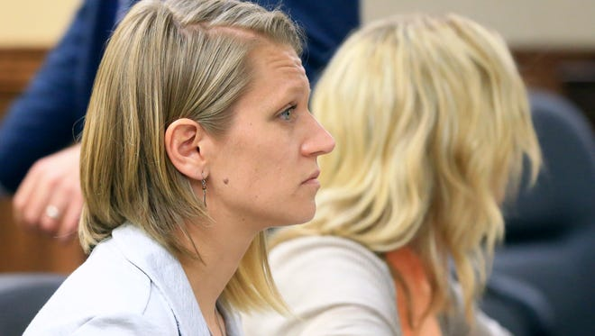 Courtney Hayden attends her court hearing as her defense lawyers are asking State District Judge Nanette Hasette to dismiss the murder charge on Wednesday, May 17, 2017, at the Nueces County Courthouse in Corpus Christi.
