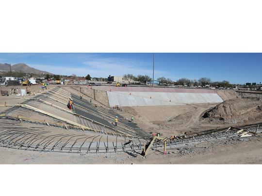 The stormwater collection pond is under construction at Estrella and Gateway East.