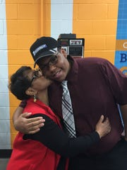 Terri Harper congratulates her son, Johnathan, during a ceremony at the Enoree Career Center on Friday, March 9, 2018, for his admission to Michelin's Youth Apprenticeship program.