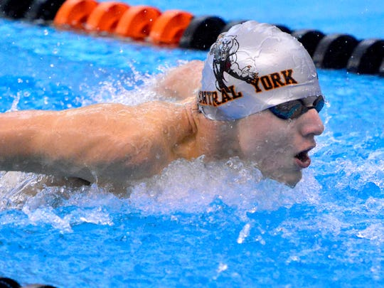 Central York's Alec Peckman flies his way to a school record in the 200 IM against Dallastown, Thursday January 14, 2016. (John A. Pavoncello - The York Dispatch)