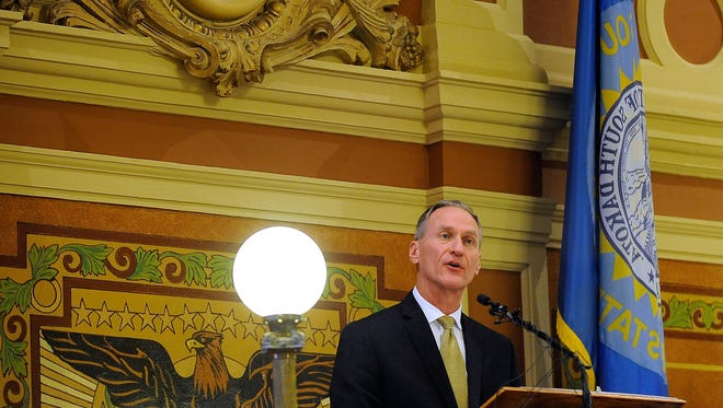 Gov. Dennis Daugaard speaks during State of the State address at the State Capital in Pierre, S.D., Tuesday, Jan. 12, 2016.