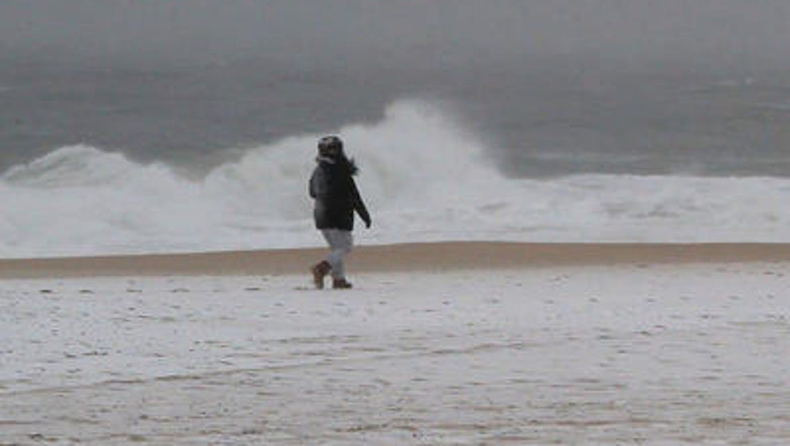 Angry waves pound the beach in Belmar from the approaching