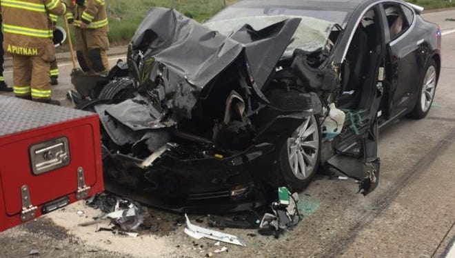 A Tesla sedan with a semi-autonomous Autopilot feature rear-ended a fire department truck at 60 mph (97 kph) apparently without braking before impact on May 11, 2018, but police say it's unknown if the Autopilot feature was engaged.