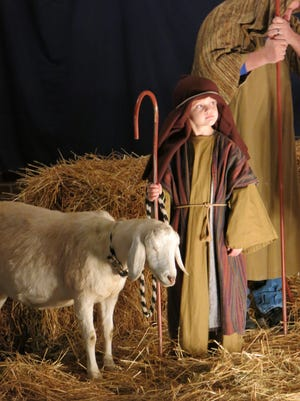 This undated photo provided by Lazy JV Ranch shows,  Cottonball, a purebred Nubian goat from Lazy JV Ranch with her shepherd in a nativity scene at the Cumberland Presbyterian Church in Owensboro, Ky. Rented farm animals and reindeer are in high demand during the weeks between Thanksgiving and Christmas for Christmas pageants and other seasonal celebrations.