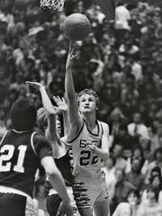 BFA's Matt Johnson goes for a layup during the 1985