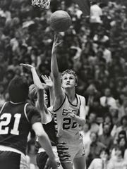 BFA's Matt Johnson goes for a layup during the 1985 high school boys basketball final against Rice at Patrick Gym.