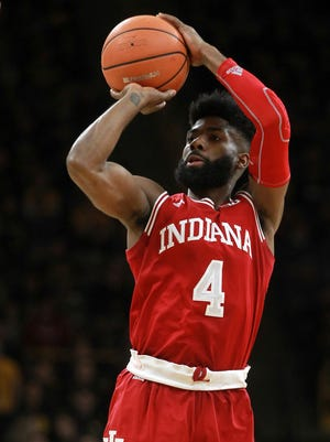 Indiana's Robert Johnson takes a shot during an NCAA college basketball game against Iowa, Saturday, Feb. 17, 2018 in Iowa City, Iowa.