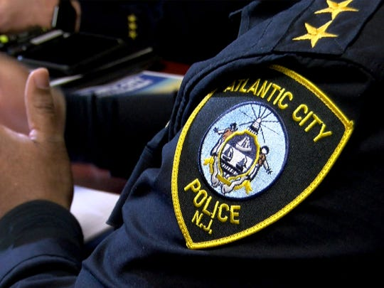 A patch on Atlantic City Police Chief Henry White's uniform is shown during an interview at the police headquarters Thursday, March 15, 2018.