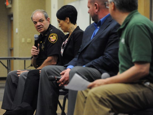 Ross County Sheriff George Lavender speaks during a