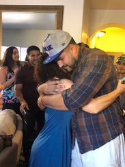 Will Hernandez shares a hug after being selected by