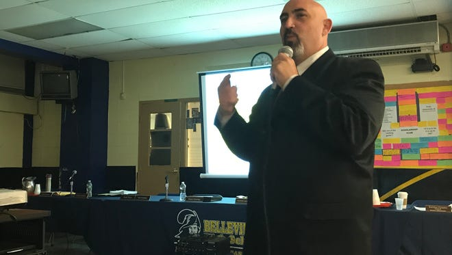 Belleville Schools Superintendent Richard Tomko discusses the 2017-18 school budget during the Monday, April 24,  Board of Education meeting.