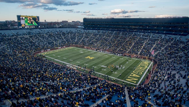 The end zones at Michigan Stadium will be blue instead of green.