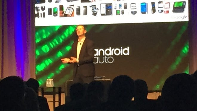 Andrew Brenner, of Android Auto, talks about the future of phones and cars at the Automotive News World Congress in Detroit on Wednesday, January 13, 2016.