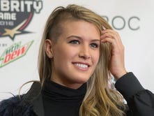 Canadian tennis player Eugenie Bouchard arrives for the NBA All-Star Celebrity Game. Oh, Canada!