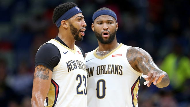 Anthony Davis (left) and DeMarcus Cousins (right) are averaging 51.2 points and 23.1 rebounds for the New Orleans Pelicans headed into their game against the Bucks.