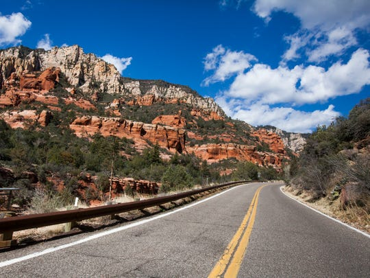 A picturesque view of Oak Creek Canyon from State Route 89A in Arizona.