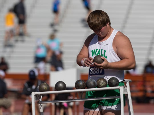 Wall's Carson Stephens competes in the 3A boys shot