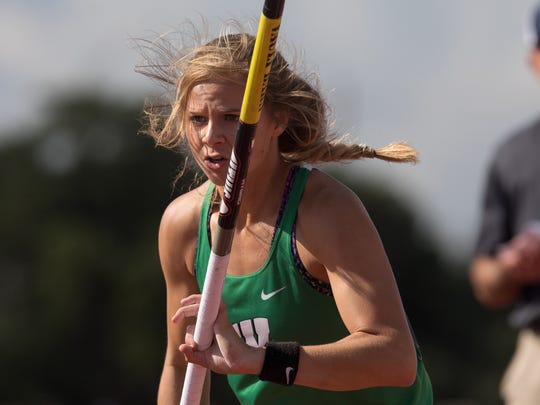Woodsboro's Skylar Hall competes and wins the 2A girls Pole Vault during the UIL State Track and Field meet at Mike A Myers Stadium in Austin Texas on Friday, May 11, 2018.