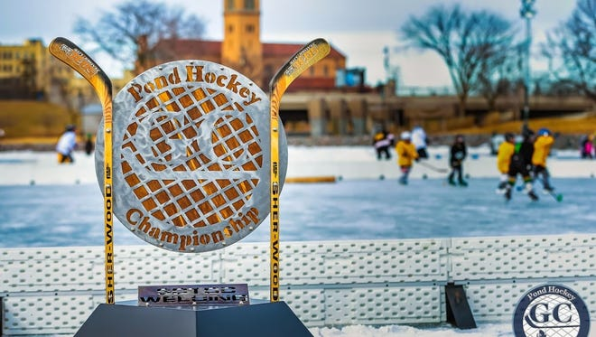 The Granite City Pond Hockey Championship trophy is made by the St. Cloud Technical & Community College welding department. The annual event will be held Friday through Sunday at Lake George.