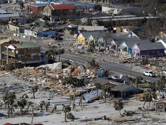 This Oct. 12, 2018 aerial file photo shows devastation from Hurricane Michael over Mexico Beach, Fla. A massive new federal report warns that extreme weather disasters, like California's wildfires and 2018's hurricanes, are worsening in the United States. The White House report quietly issued Friday, Nov. 23 also frequently contradicts President Donald Trump.