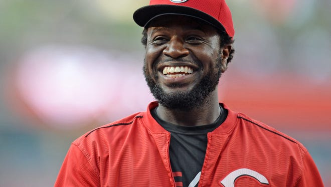 Cincinnati Reds second baseman Brandon Phillips (4) laughs before the game against the San Diego Padres at Petco Park.