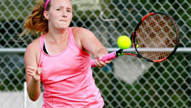Dagney Markle, seen here in a file photo, has advanced to the women's singles semifinals of the 99th Marion Brown York City-County Tennis Championships. She is the defending champion.