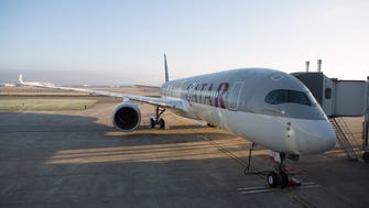 Qatar Airways' first Airbus A350 is seen in Toulouse, France, prior to a delivery ceremony for the aircraft on Dec. 22, 2014.
