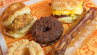 Some of the options at the soon to open Rise Biscuits, Donuts & Righteous Chicken in Saddle Creek.