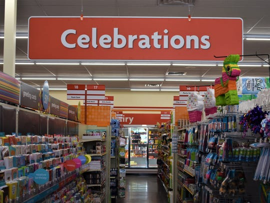 The celebration aisle of the new Family Dollar on July