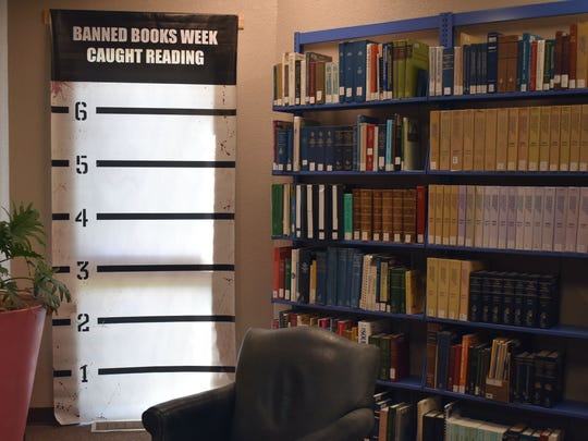 Visitors to the Alamogordo Public Library can take a photo with their favorite banned or challenged book.