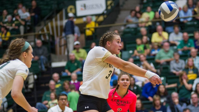 Colorado State freshman Olivia Nicholson (3) bumps a ball in the match against Nevada Thursday Oct. 13, 2016 at Moby Arena.
