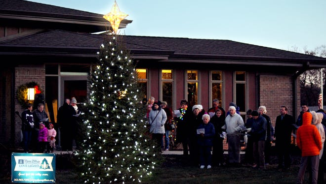 The Love Lights tree at Three Pillars in Dousman shines with 332 lights, 47 strands, in honor or memory of loved ones.