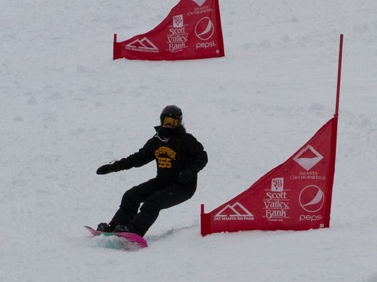 Enterprise High's Jacquelyn Hardy finished third in the girls snowboard dual slalom race Monday at Mt. Shasta Ski Park.