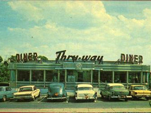 A Post card of the Thru-Way Diner in New Rochelle from the 1950s. SOURCE:  the American Diner Museum.
