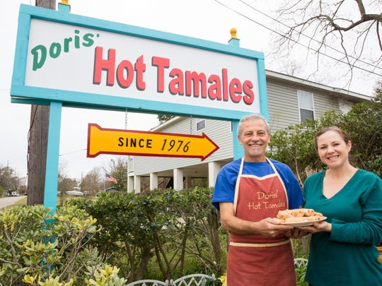 Doris' Hot Tamales owners R.J. Deno and sister Shanna Burdine at the stand in D'Iberville. Their grandfather started selling tamales from a push cart 39 years ago.