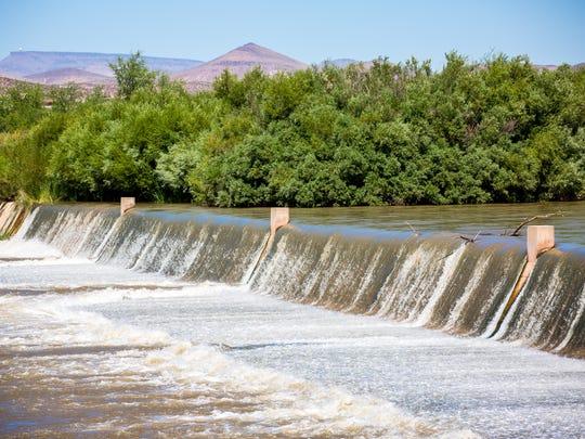 Water flows down the Rio Grande at Leasburg Dam State