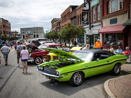 Al and Carole Burleigh of Port Huron showed their lime green 1970 Dodge Challenger RT/SE during the 2016 Mainstreet Memories Car Show.