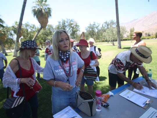 Trump supporters rally at Ruth Hardy Park in Palm Springs on July 4, 2017.