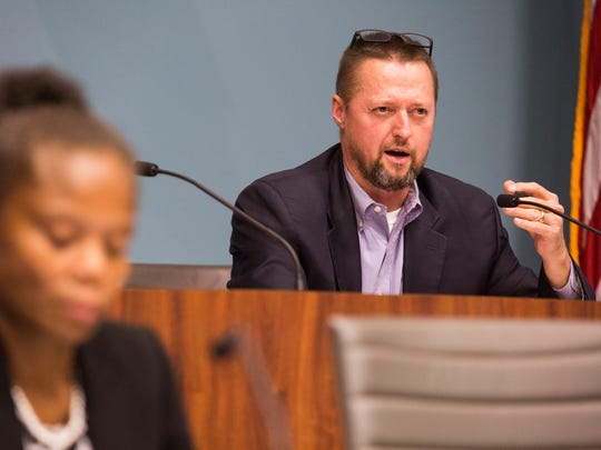 Wilmington City Councilman Bob Williams asks questions pertaining to the uses of the $35,000 grant requested by Student Disabilities Advocate Inc., a nonprofit managed by former Wilmington City Council President Theo Gregory.