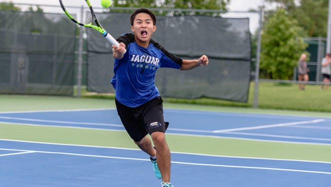 Sean Nguyen of Blue Springs South makes a quick return during the doubles final in the 2020 Missouri High School Boys Summer State Tennis Championships on Saturday at Cosmo-Bethel Park in Columbia.