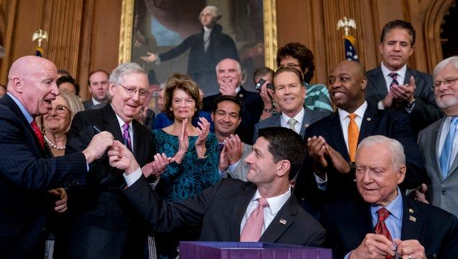 Congressional Republicans in Washington on Dec. 21, 2017.