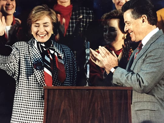 Then-first lady Hillary Clinton campaigns with then-Gov.