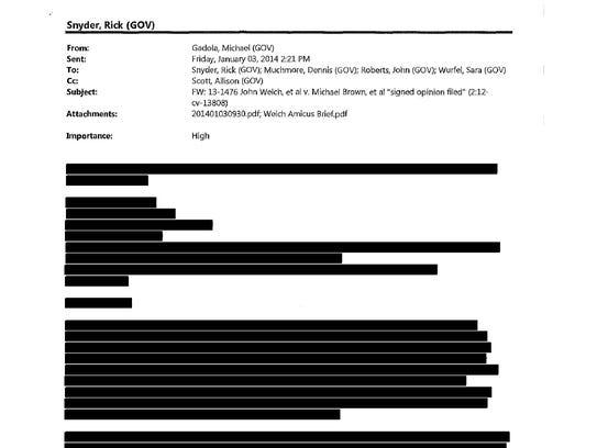 Page 2 of Gov. Rick Snyder's Flint e-mails.