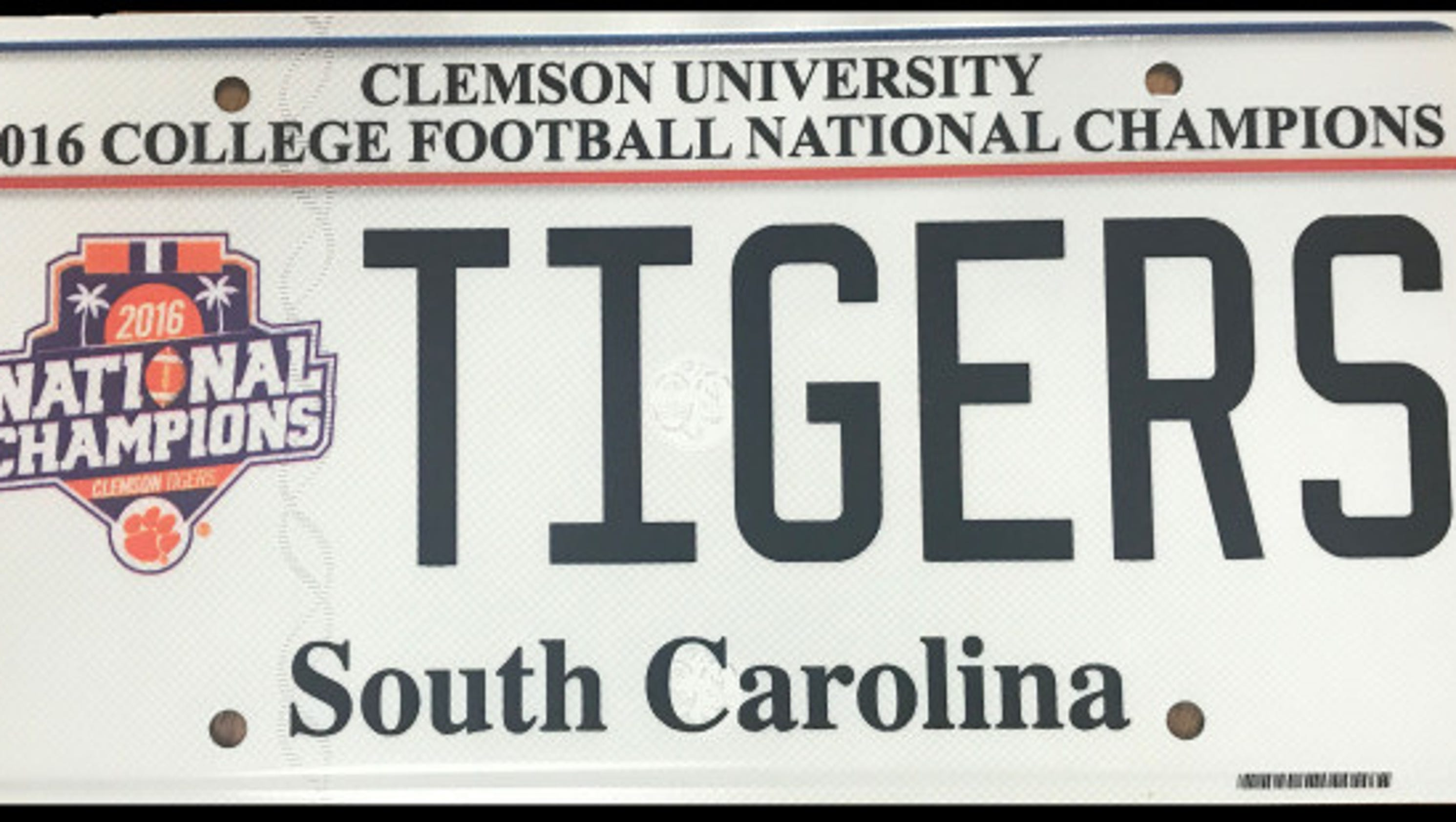 Clemson national championship license plates are now available for National motor vehicle license organization
