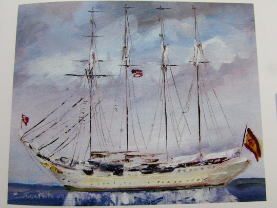 Nina Fritz' painting of the Elcano.